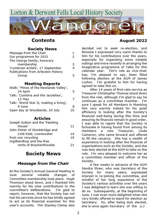 An image of the Wanderer newsletter.